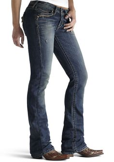 Ariat Women's Amber Double X Boot Cut Western Jeans - Cloud (Closeout) $43.17