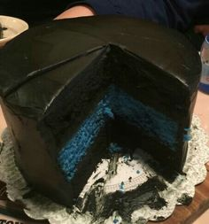 Thin Blue Line Cake. All the black is chocolate and the blue line is a white cake. Www.Facebook.com/ASweetRetreat.Alabama