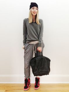 Embrace the sweats-on-sweats look by keeping your outfit monochromatic, but adding a pop of colour with your kicks.