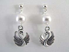 Nature Series:  Silver Swan with Pure White Austrian Pearl Elements Bird Lovers Earrings - pinned by pin4etsy.com