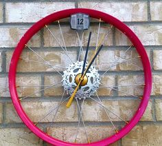 Decoration Unique And Creative Bicycle Wheel Wall Clock Recycled Bike Parts Material Red Colour Home Decorating Ideas 33 Unique And Creative Wall Clock