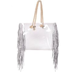 Shopper transparent bag with jute rope clear handbag shopping tote bag... (266 PLN) ❤ liked on Polyvore featuring bags, handbags, tote bags, purse tote, white tote bag, shopping bag, clear tote and man bag