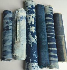 Upcycled Denim Shibori Fabric Bundle by CapeCodShibori on Etsy