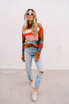 striped sweater, colorful stripes sweater, distressed jeans, ripped edgy style jeans, red orange white gray stripes sweater, chunky cozy colorful knitted sweater,