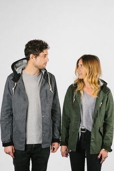 Ketums waxed cotton Bondy jacket, available in hunter green and harbor grey for both women and men