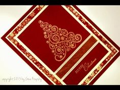 cardmaking video ... Christmas card ... burgundy and ivory ... embossed swirly tree ... pretty layers ... lies flat for easy mailing ... GinaK Designs