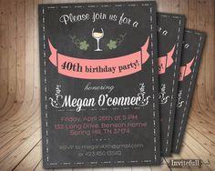 40th Birthday Invitation Adult Birthday Invitation By Invitefull
