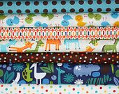 Boy's Day at the Zoo- Alexander Henry, Urban Zoologie and Remix Fabric by Ann Kelle - Fat Quarter Bundle- 7 total
