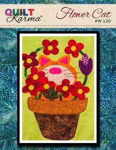 Quilt Pattern - Flower Cat Applique - Quilt Karma