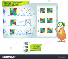 educational game for kids and adults development of mental rotation skills, iq. Task game what will be the shape after the rotation , Alphabet Worksheets, Grammar Worksheets, Worksheets For Kids, Thing 1, Educational Games For Kids, Puzzles, Shapes, Art Sketches, Patterns