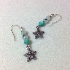 Pale Green Jasper and Starfish Earrings Green by JewelryCharmers, $18.00