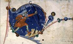 Surfer sur la goutte #bleue dans les marges d'un Pontifical romain du 14e siècle, un #manuscrit contenant la liturgie de l'Église catholique romaine avec les rites suivis par les évêques #numelyo #livre #patrimoine #couleur #enluminure