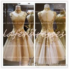 Cheap 2014 Prom Dresses - Discount 2014 New Short Prom Dresses Sheer High Neck a Line Mini Tulle Party Dress with Gold Lace Appliques Graduation Dresses Uk Evening Gowns 0319 Online with $110.58/Piece | DHgate