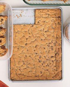 Chocolate Chip Cookie Bars Recipe from Martha Stewart. #cookies #desserts