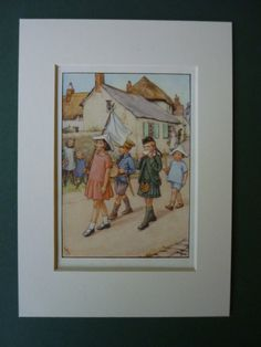 Original 1937 Cicely Mary Barker Matted Print  by PrimrosePrints, £20.00 Parade - Soldiers - Boys & Girls - Flag - Flower Fairies - Fairy - Vintage 1930s - Children