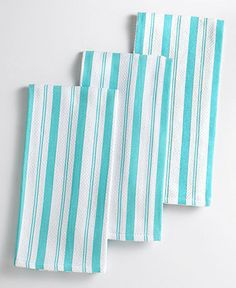 Martha Stewart Collection Basket Weave Aqua-Striped Kitchen Towels, Set of 3 - Kitchen Gadgets - Kitchen - Macy's
