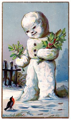 Vintage Christmas Graphic - Snowman with Holly - The Graphics Fairy