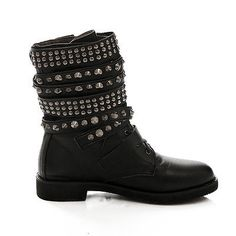 Gothic Para Mujer Hebilla Remache strapply laides talón plano Martin Botines Zapatos
