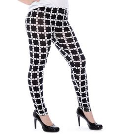 Love this Black & White Flower Check Leggings - Plus on #zulily! #zulilyfinds