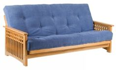 "NEW Oak Akino 3 seat futon frame with an 8"" thick TwinLoft futon mattress"