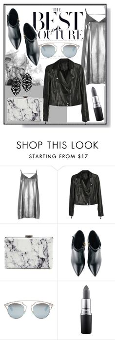 """""""Marble Clutch"""" by zippy135 ❤ liked on Polyvore featuring River Island, Paige Denim, Balenciaga, Kim Kwang, Christian Dior, MAC Cosmetics, Leather, Silver, NightOut and clutches"""