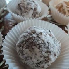 Chocolate Rum Balls I - Allrecipes.com swap out the nuts for mini chocolate chips!