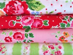 Shabby Chic White With Red Polka Dots Floral Fat Quarter Bundle