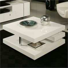 The viceroy coffee table, with its very modern and unique design, will add style and elegance to your living area. This by rectangular coffee table comes in glossy white wood with chrome design. Coffee Table Walmart, Cool Coffee Tables, Coffe Table, Coffee Table With Storage, Coffee Table Design, Modern Coffee Tables, Pastel Furniture, Furniture Design, Table Furniture