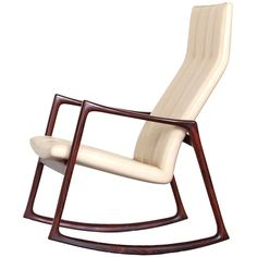 Helge Vestergaard-jensen Rosewood Rocking Chair With New Vegeta Leather ca1961