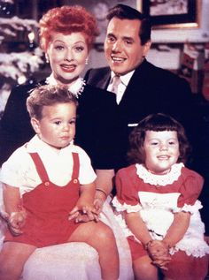 Lucille Ball and Desi Arnaz and children Lucie and Desi Arnaz Jr. 1954