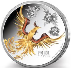 NIUE 2015  2 $ Dollar - Feng Shui (5.) - Phoenix - 1 Oz. Silver Proof Coin in… Feng Shui, Phoenix, Buy Gold And Silver, Coin Store, Gold Money, Supernatural, Dollar, Proof Coins, Chinese Zodiac