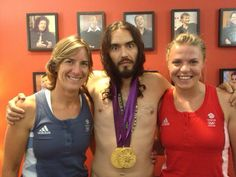 Katherine Grainger & Anna Watkins run in to Russell Brand shortly after the London Olympics