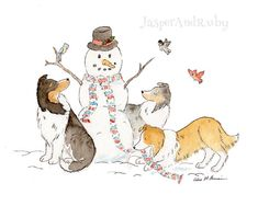 Sheltie Christmas Art  Holiday Dog Print 5X7 8x10 by JasperAndRuby