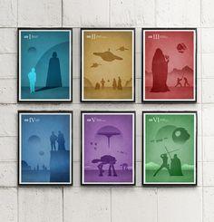 Star Wars Silhouette Style Episodes Movie Poster Set / Darth Vader, Yoda, Sith #Minimalism