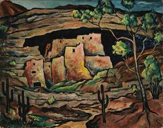 """""""The Pink Castle,"""" ca. 1950, Fred Gardner, oil on paperboard, 15 7/8 x 20 in. (40.3 x 50.8 cm.), Smithsonian American Art Museum, Gift of the artist, 1963.9.12"""
