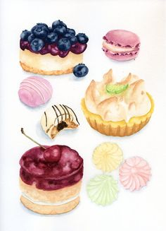 ORIGINAL Painting - Desserts, Colorful Food Illustration (Fuits Watercolors Wall Art, Still Life) on Etsy, $75.29 CAD