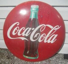 """Old General Store Signs   Vintage 24"""" Coke Coca Cola Bottle Button General Store Display ..."""