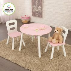 online shopping for Kids 3 Piece Round Table Chair Set KidKraft from top store. See new offer for Kids 3 Piece Round Table Chair Set KidKraft Kids Table Chair Set, Round Table And Chairs, Toddler Table And Chairs, Table Rose, Pink Table, Storage Chair, Table Design, Design Design, Modern Kids