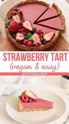 Vegan Strawberry Tart Recipe (gluten-free!). This delicious tart is so light, fresh, easy and quick to prepare. The crust is super crunchy and melts in your mouth! Such a delight!