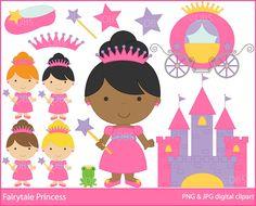 princess clipart clip art digital - Fairytale Princess Clipart. $5.00, via Etsy.