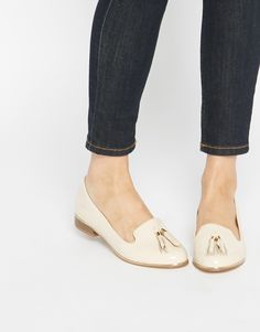 Image 1 of River Island Nude Patent Slipper Tassel Flat Shoes