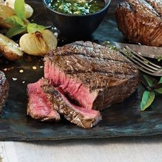 Our Bison Top Sirloin Steaks are extra lean and perfectly trimmed, absolutely bursting with bold steak flavor and loaded with natural goodness. As with all Omaha Steaks 4 oz. Bison Steak Recipes, Grilled Steak Recipes, Meat Recipes, Gourmet Recipes, Top Sirloin Steak Recipe, Sirloin Steaks, Bison Meat, Roasted Shallots, Buffalo Recipe