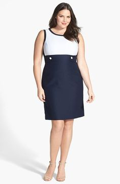 Tahari Colorblock Sheath Dress (Plus Size) #plussizedresses #plussizefashion #plussizeclothes
