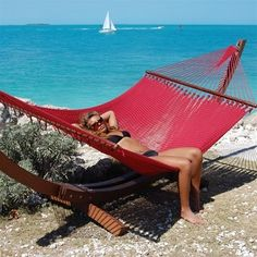 This extra large hammock with spreader bars is  hand woven from soft spun polyester, they will not rot, mold or mildew!