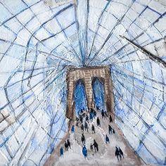 Brooklyn Bridge - New York.New York City. Original, Mixed Media, Collage painting on canvas, ready to hang by MyNewYorkCity on Etsy