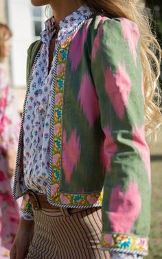 Alix of Bohemia Bleeding Heart Silk-Ikat Jacket Unique Fashion, Boho Fashion, Womens Fashion, Fashion Trends, Modelos Fashion, Fashion Mode, Mode Inspiration, Mode Outfits, Get Dressed