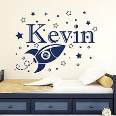 Custom Boy Name Wall Decals Space Rocket Star Decal Vinyl Nursery Kids Room Art Decor Home Sticker Mural Removable MA61 22Tallx29Wide ** Continue to the product at the image link.