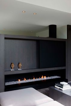 Interior combining white and dark accents, Private House by Frederic Kielemoes _ Custom Fireplace, Cozy Fireplace, Modern Fireplace, Fireplace Design, Small Beach Houses, Dark Interiors, Loft Spaces, New Home Designs, Simple House