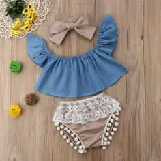 baby outfits Baby Girl Denim Flutter-Sleeve Top and Lace Pompon Decor Shorts with Headband Set Cute Baby Girl Outfits, Baby Outfits Newborn, Cute Baby Clothes, Baby & Toddler Clothing, Baby Girl Clothes Summer, Kids Clothing, Toddler Girls, Unique Baby Girl Clothes, Hipster Baby Clothes