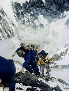 Edmund Hillary and Tenzing Norgay, Photograph by Royal Geographic Society On May 29, 1953, Edmund Hillary of New Zealand (foreground) and Tenzing Norgay of Nepal became the first people to stand atop Earth's highest peak.